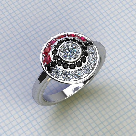 Poke Engagement Ring with plain shank by PaulMichaelDesign on Etsy