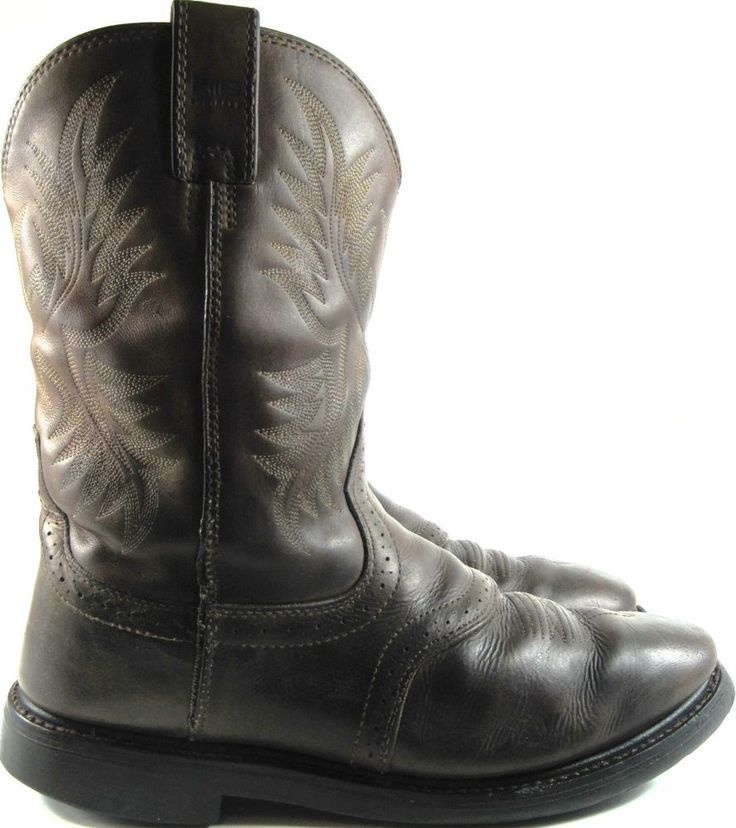 Ariat Men Western Boots Leather Vtg Size 13 D Brown ATS Equipped.  ZZZ 41 #Ariat #CowboyWestern