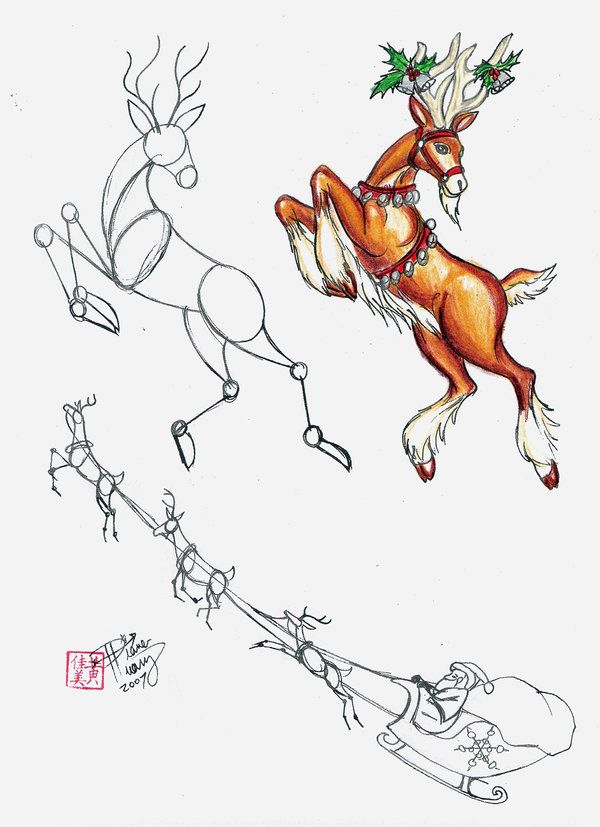 How to Draw a Reindeer by *Diana-Huang on deviantART Santa ...