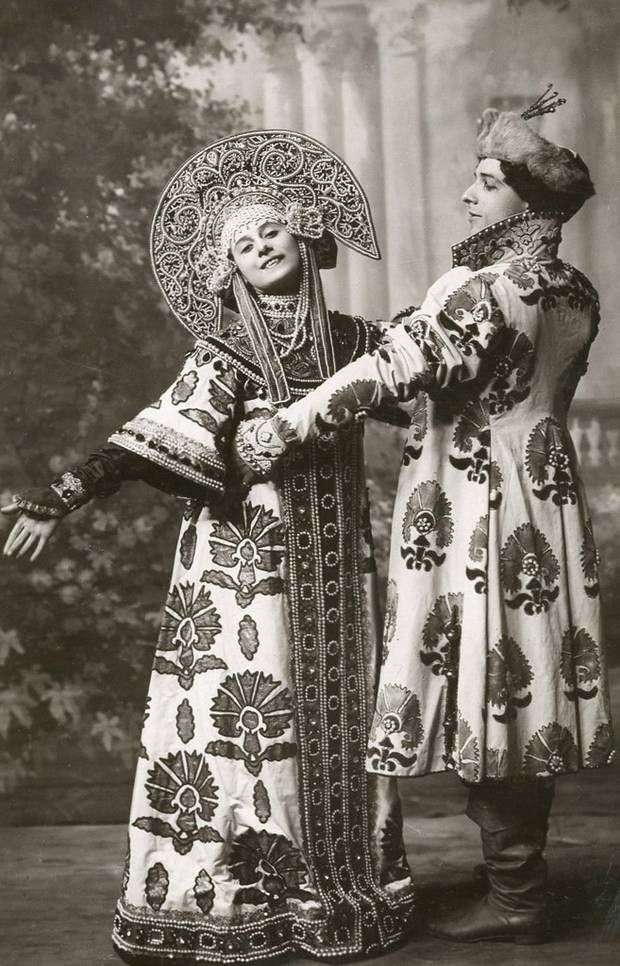 Anna Pavlova with Mikhail Mordkin costume for the Russian Dance, 1910