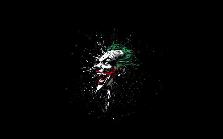 Télécharger fonds d'écran le joker, l'art, supervillain, de l'obscurité, arrière-plan noir