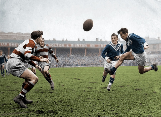 Colorized vintage rugby photo.  Wigan vs Roanne, May, 1949.