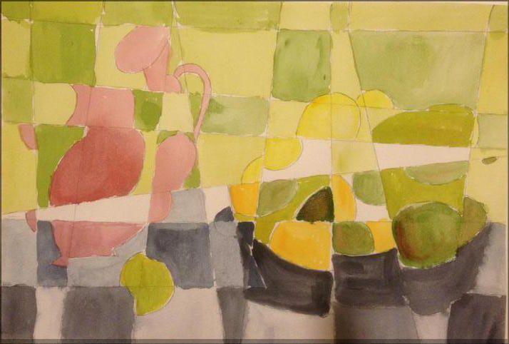 2015 Abstract gemakt van eerste aquarel  Stilleven met vaas en fruitschaal in aquarel