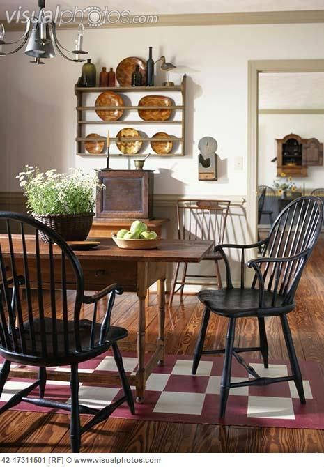 387 best primitive colonial dining rooms images on for Primitive dining room furniture