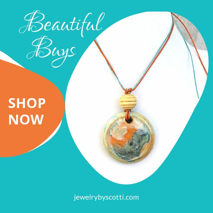 This gorgeous handmade, glazed pottery pendant on cord with a wood bead accent is just waiting for you to tell me the length you want the finished necklace to be. Shop Jewelry by Scotti now: https://www.etsy.com/shop/JewelryByScotti