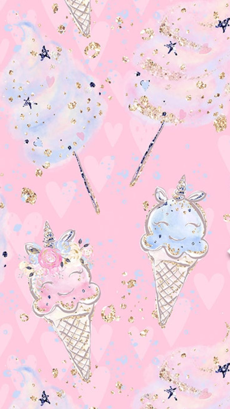 Ice Cream And Cotton Candy In 2019 Iphone Wallpaper Cute