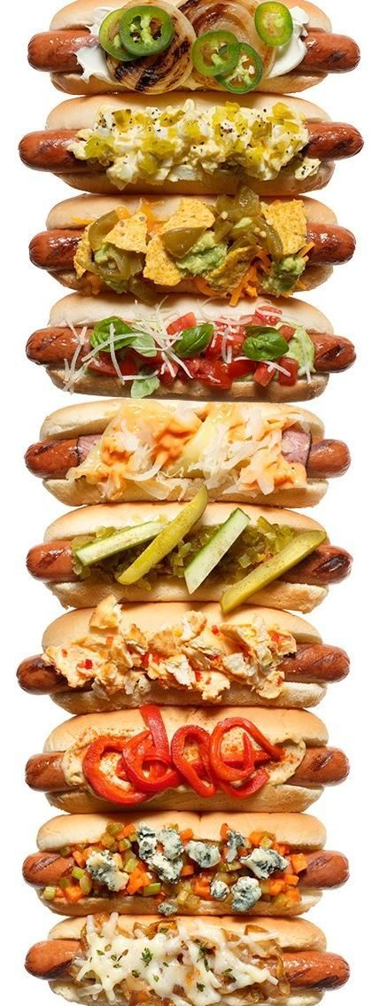 Hot Diggity Dog! 10 crazy cool hotdog topping combos! http://www.rachaelraymag.com/blogs/rachael-ray/2013/07/23/national-hot-dog-day-recipes/?crlt.pid=camp.gdZCFRLV2zBs