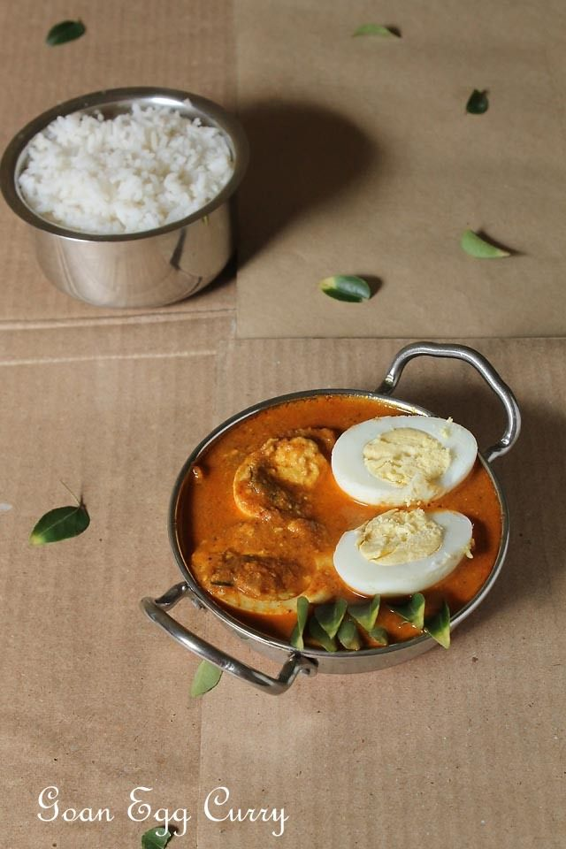 Classic Red Goan Egg Curry tastes great with steamed rice Or pao! You could add boiled eggs directly instead of frying. I love the fried version of eggs though.