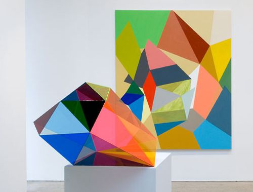 Gemma Smith's geometric colourful paintings and sculptures make me smile - I want one of each