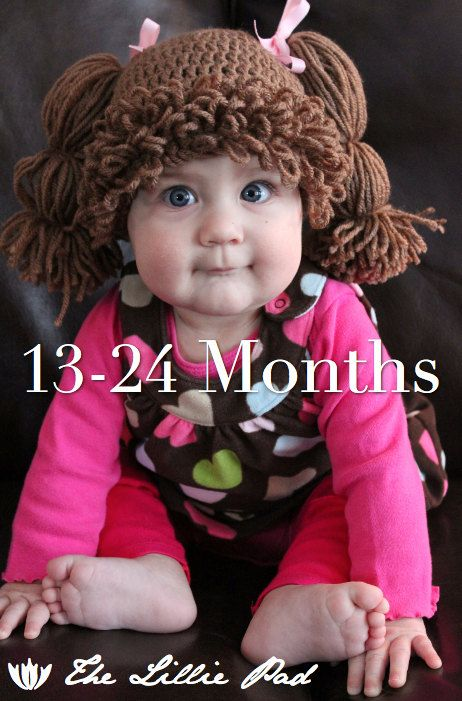 Cabbage Patch Kid Inspired Crochet Wig/Hat, 13-24 MONTHS Size, Custom made