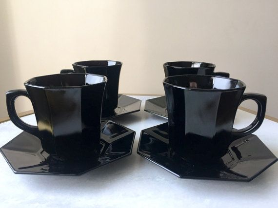 Set Of 4 Black Glass Luminarc Arcoroc Octime France Coffee Tea