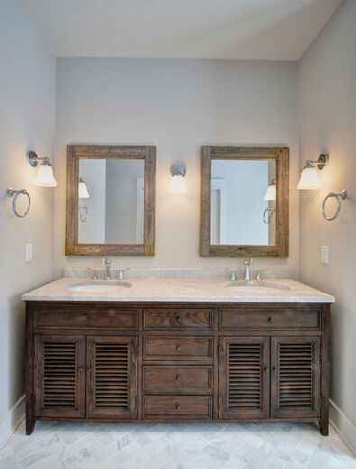 Double Sink Bathroom Mirror Set - 2 Reclaimed Wood Mirrors Size 24 x 28  - Rustic Decor by CountryByTheBumpkins on Etsy https://www.etsy.com/listing/209462313/double-sink-bathroom-mirror-set-2