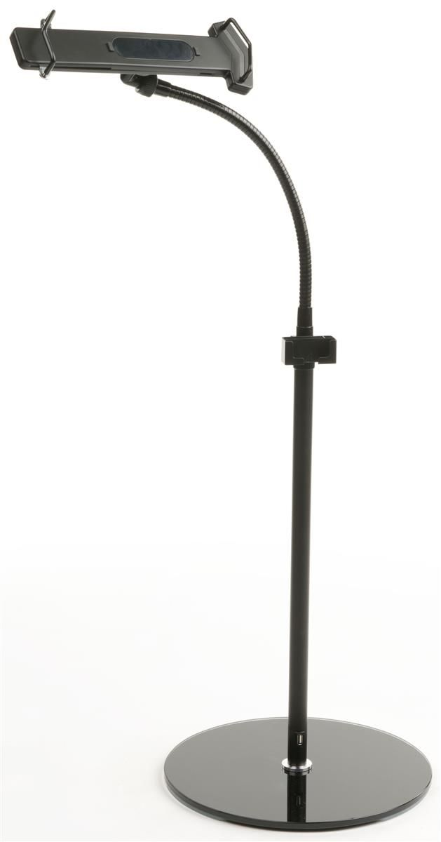 adjustable ipad floor stand w usb charging port black - Ipad Floor Stand