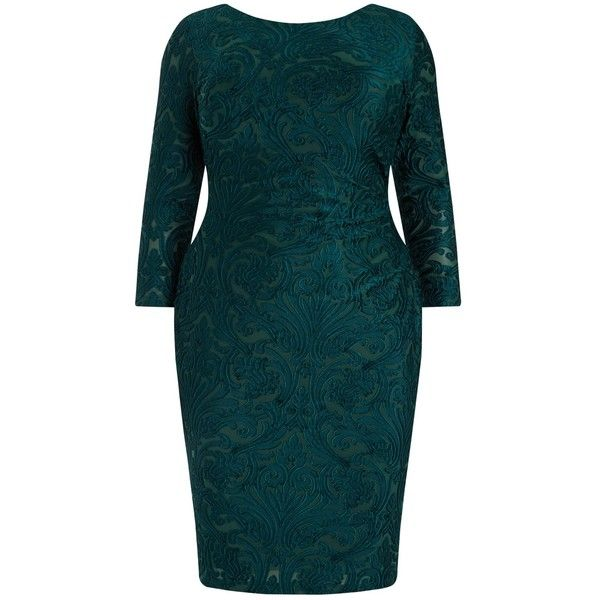 Studio 8 Bernice Bodycon Dress, Forest Green ($86) ❤ liked on Polyvore featuring plus size women's fashion, plus size clothing, plus size dresses, long-sleeve midi dresses, 3/4 sleeve dress, plus size maxi dresses, plus size mini dresses and maxi dresses