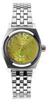 Nixon Small Time Teller Watch - Women's Silver Neon Yellow/Beetlepoint One Size