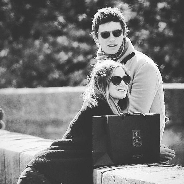 "bespokeredmayne: ""Just your average Paris tourists: Eddie Redmayne and Hannah Bagshawe on pre-baby holiday. (my edits) """
