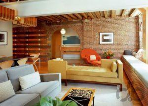 tuğla duvarlar ile çekici salon dekorasyonu