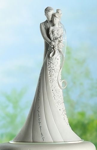 Embrace Bride & Groom Wedding Cake Topper by Gina Freehill