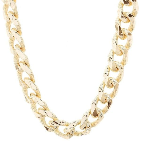 Charlotte Russe Textured Chunky Chain Necklace ($6) ❤ liked on Polyvore featuring jewelry, necklaces, gold, gold necklace, oversized necklace, chunky chain link necklace, charlotte russe and yellow gold necklace