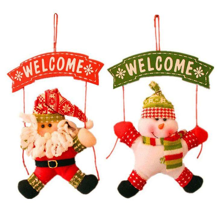 ASLT Санта Клауса Снеговик Дерево Двери Новогоднее Украшение Для Дома Украшение Декор Висячие Подвеска Рождественский Подарок купить на AliExpress