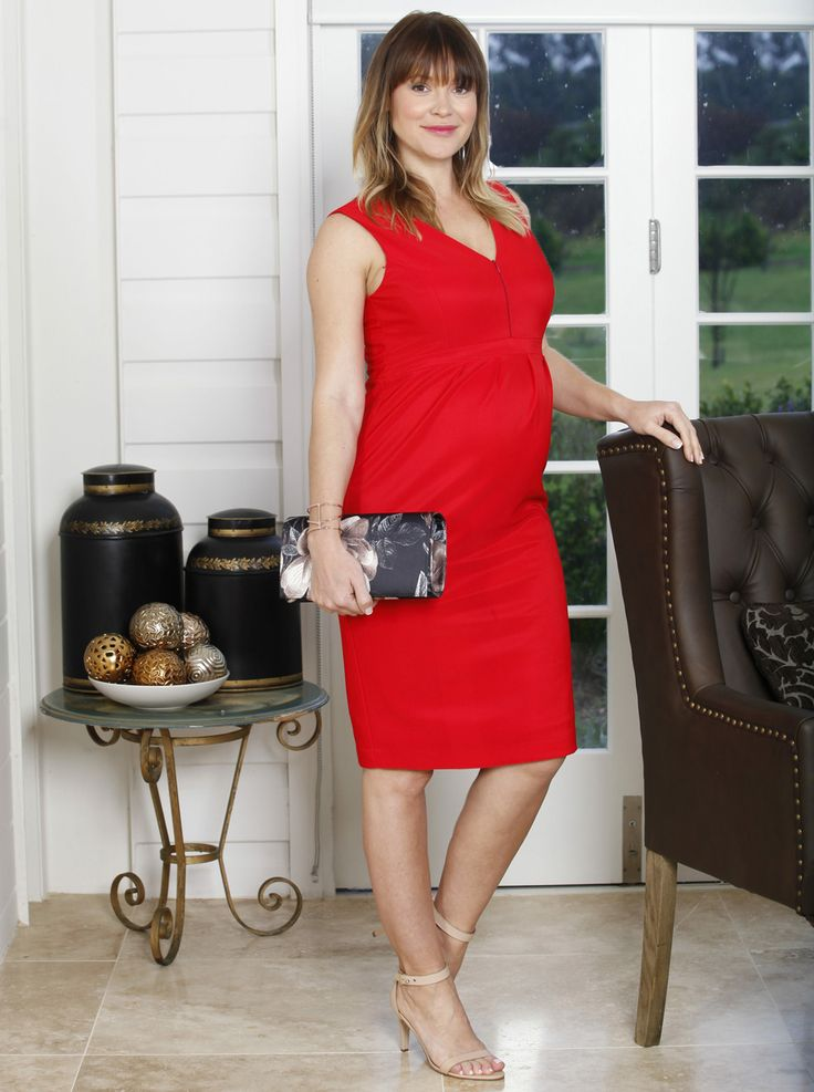 Sleeveless Ponti Party Dress - Lady in Red, $69.95 is the perfect show-stopping dress for any Christmas party. Features easy zipper opening nursing access.
