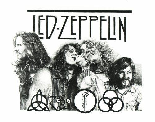 Sketch poster print led zeppelin drawing conert framed or un framed
