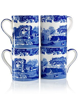 "Spode ""Blue Italian"" Mugs, Set of 4 - - Macy's"