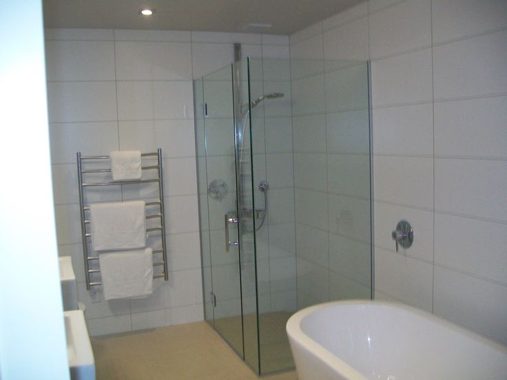 Large White Tiles Grey Grout Bathroom White Bathroom