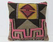 20x20 kilim pillow 20x20 pink black striped pillow case large outdoor pillow large sofa pillow large kilim pillow large throw pillow 27702