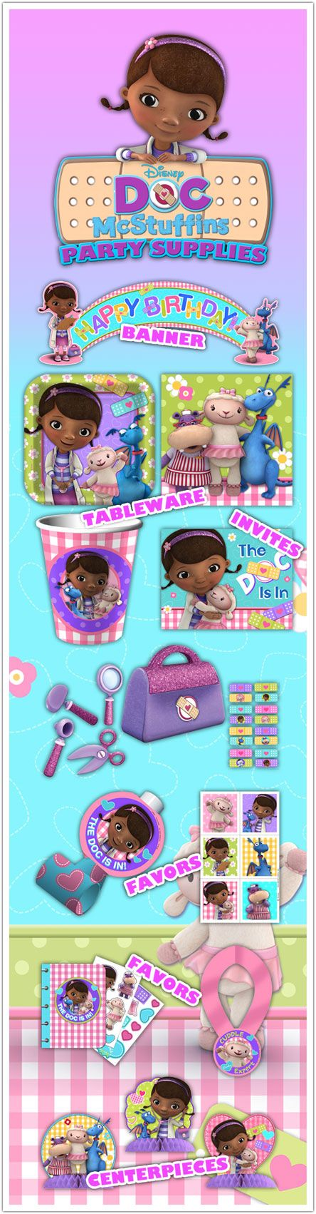 Doc McStuffins Party Supplies Sneak Peek from www.DiscountPartySupplies.com. Coming this June to a birthday party near you!