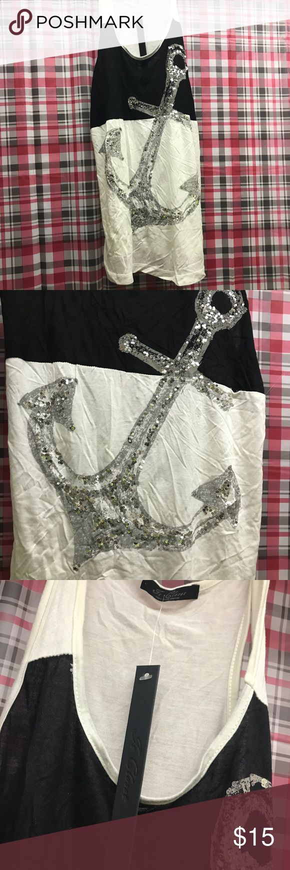 Sequin anchor tank top NWT Brand new with tags. Bling anchor Tops Tank Tops