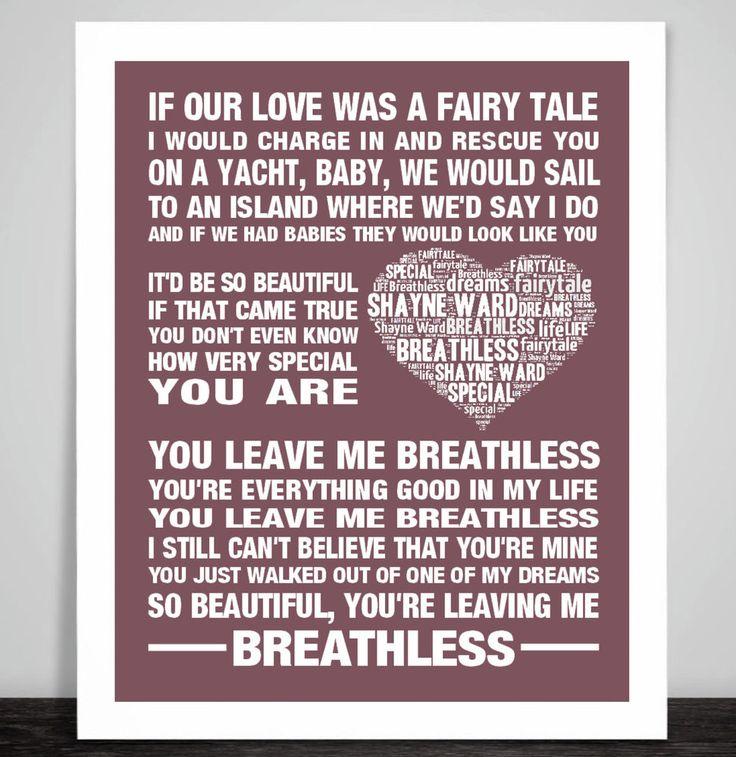 Shayne Ward Breathless Music Love Song Lyric Print Wedding Dance Valentine Gift