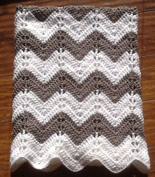 chevron ripple baby blanket baby afghan crochet grey and white gray and white handmade ready to ship on Etsy, $59.95