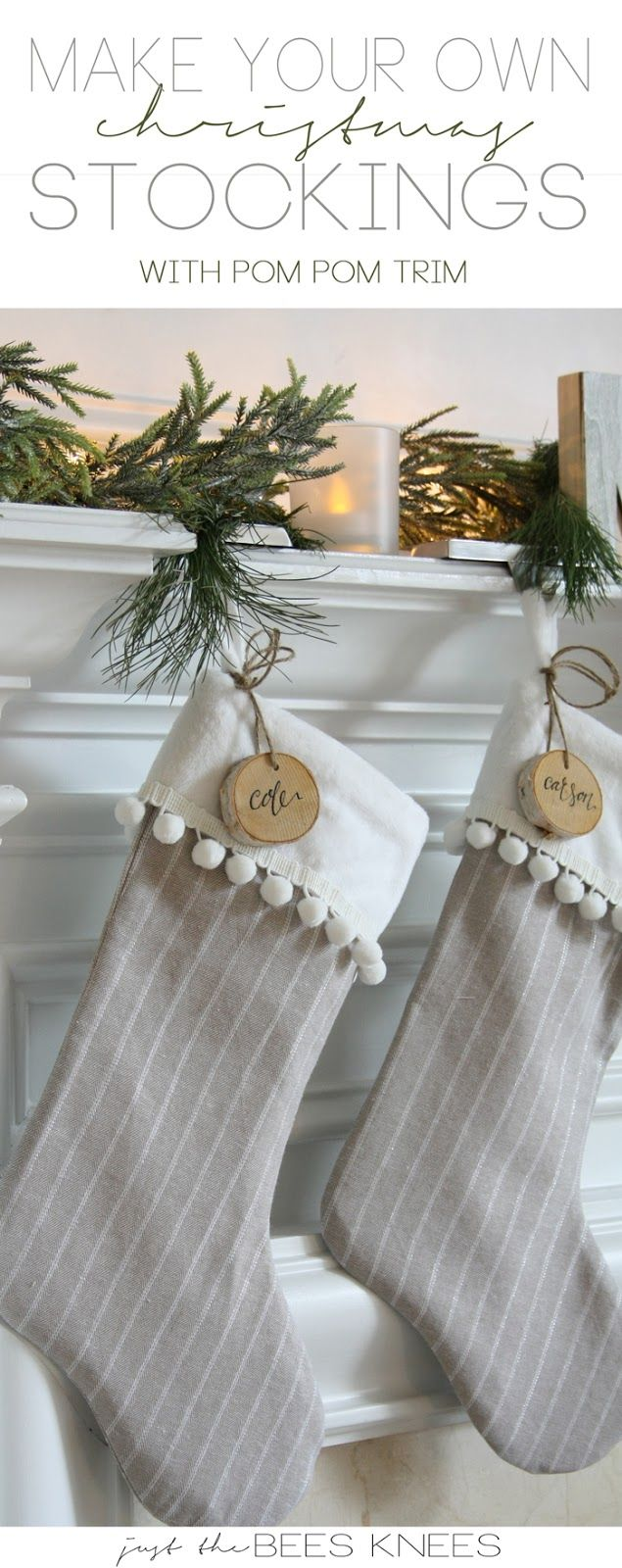 DIY Pom Pom Trim Stocking Tutorial. A quick and easy christmas craft idea! LOVE the fur cuff and wood tags too.