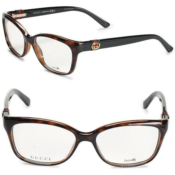 Gucci Havana 50MM Tortoiseshell Optical Glasses (1 325 SEK) ❤ liked on Polyvore featuring accessories, eyewear, eyeglasses, gucci glasses, tortoise shell eyewear, clear eye glasses, clear eyeglasses and tortoise eye glasses