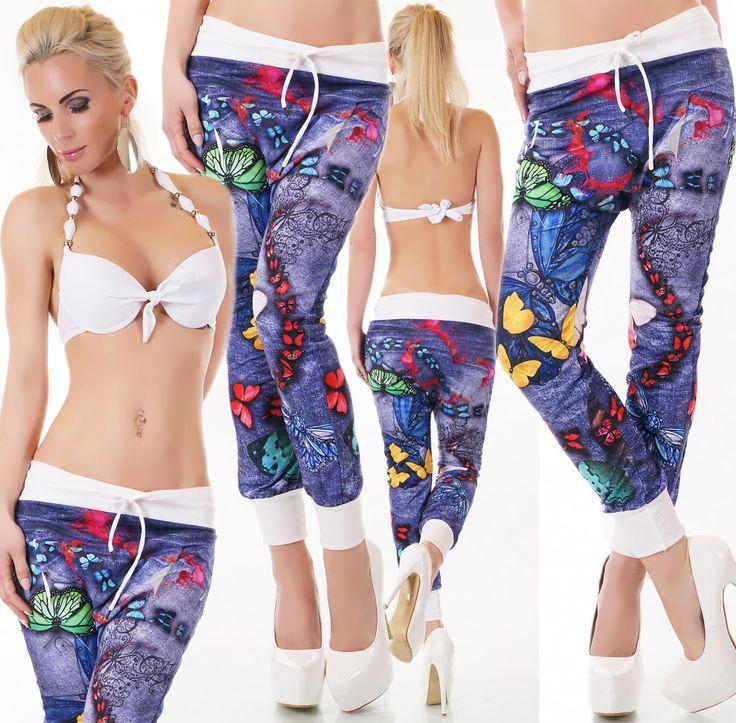 Fehér farmerhatású mintás ülepes nadrág