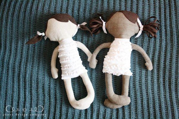 handmade dolls  {Jones Design Co., link in post to doll pattern used}