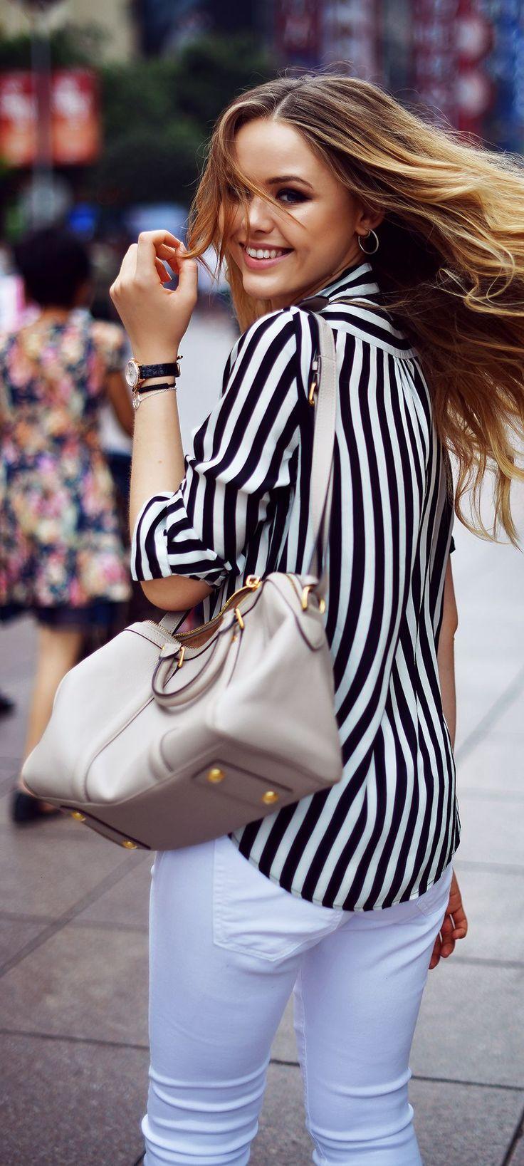Zara Black And White Stripe Blouse by Kayture
