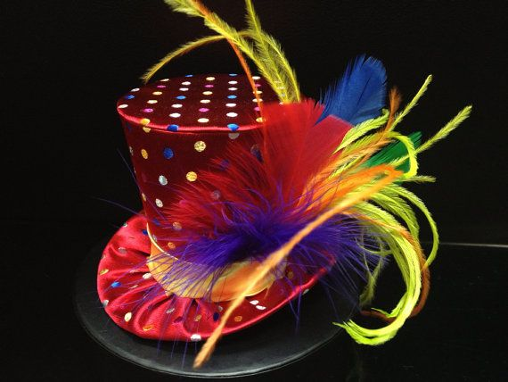 Rainbow Circus Carnival Mad Hatter Mini Top Hat by daisyleedesign, $29.95