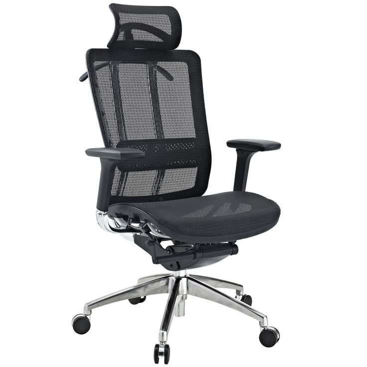Modway Future Black Leather and Mesh Office Chair with Headrest (Black)
