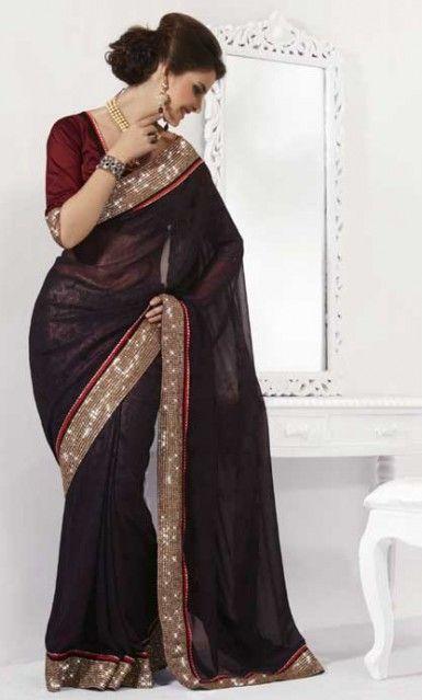 Buy Online Black Saree With Blouse. Designer Silk Saree Online Shopping.