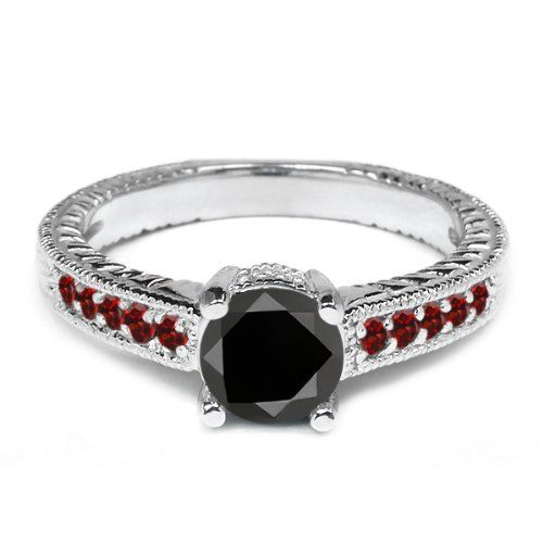 Black & Red Garnet Diamond Engagement Ring - A very unique color combo but lovely 0.35 Carat Round Shape Black & Red Garnet Diamond Engagement Ring. It's stamped in 18K White Gold featuring 11 red garnet accent side stones & a VS in diamond clarity. All of the diamonds are 100% natural & not heat-treated. #unusualengagementrings