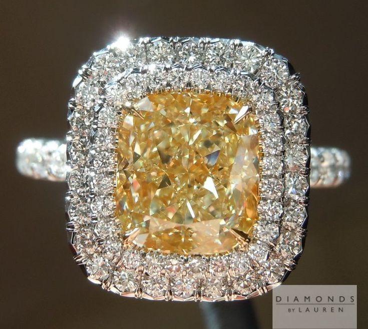 NO FLUORESCENCE 2.27ct Y-Z VS2 Cushion Cut Double Halo Diamond Ring Sale $17,995 #yellowdiamond