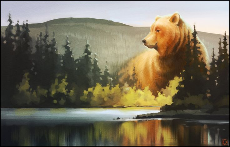 "Big Bear illustration / Grande Orso illustrazione - ""Lord of the forest"", Art by GaudiBuendia on deviantART"