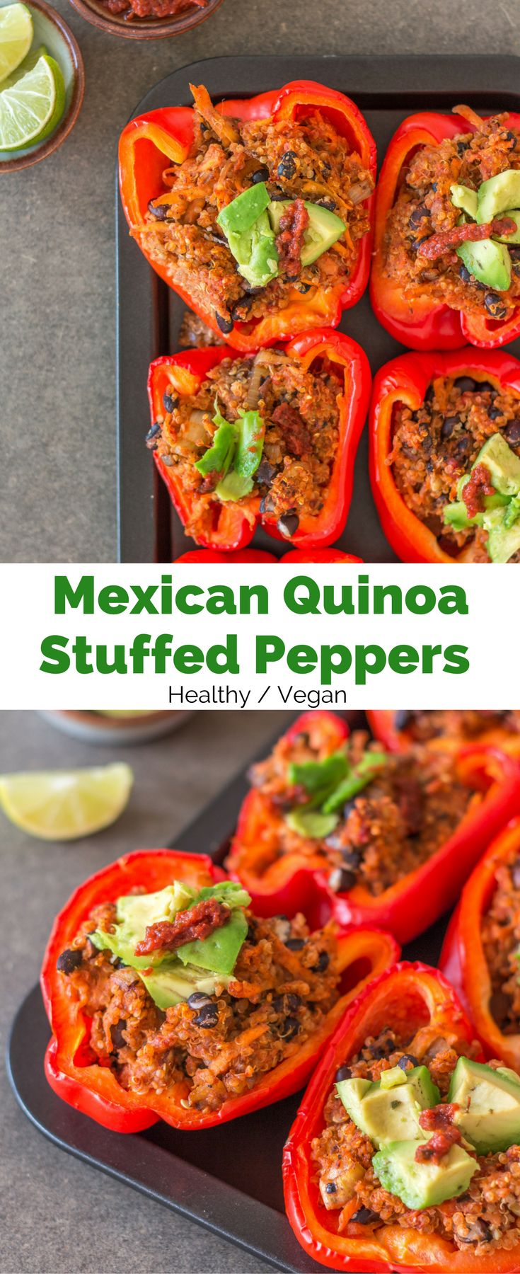 These Mexican Quinoa Stuffed Peppers make for an easy, healthy, filling, and flavourful dinner. Stuffed with quinoa, black beans, tomato, and spices! Vegan + gluten-free.