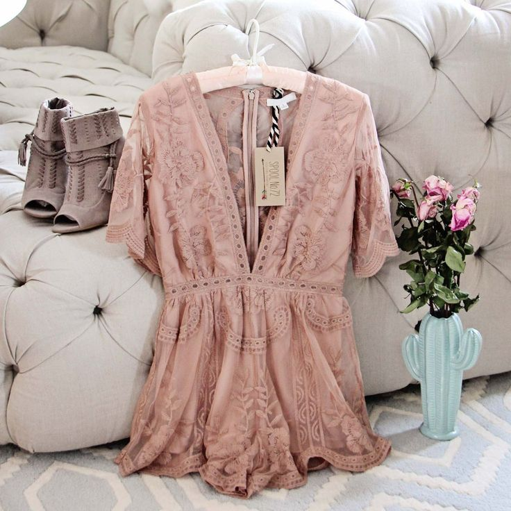 BUT HOW DO YOU PEE?  Stunning dusty blush taupe toned lace adorns our new Tainted Lace Romper. Designed with a v-cut bust, nipped waist and scalloped lace edges. #boho #bohemian #playsuit