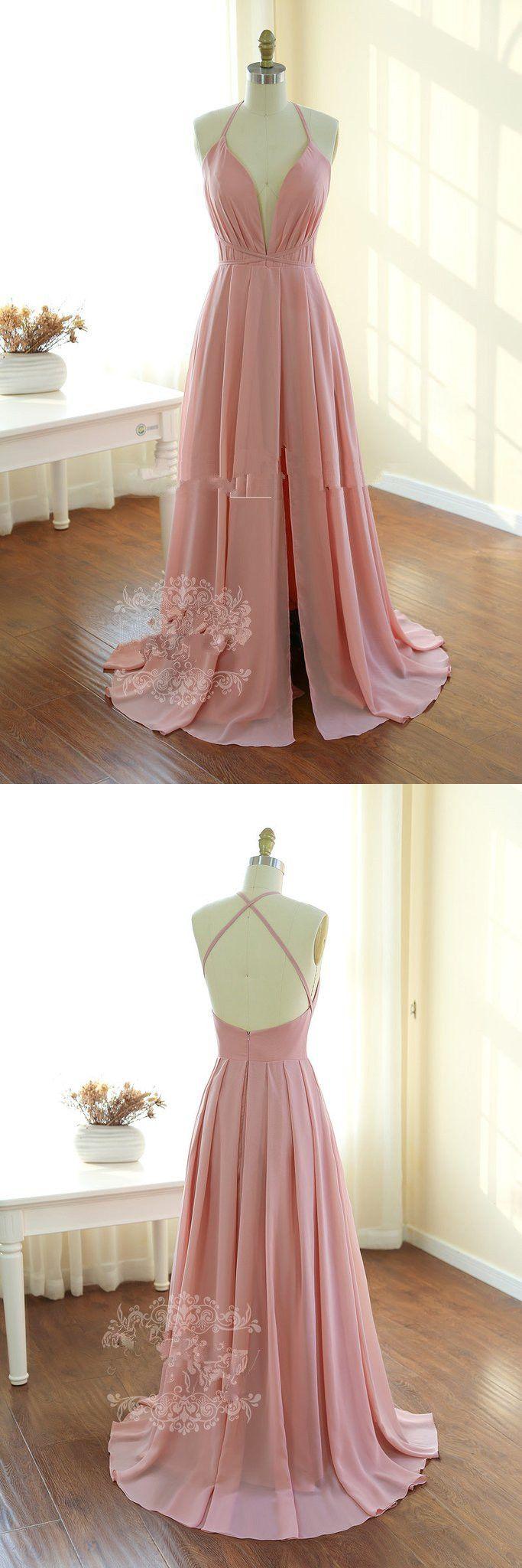 v neck long prom dress, 2017 pink long homecoming dress, backless long homecoming dress, long prom dress, 2017 homecoming dress
