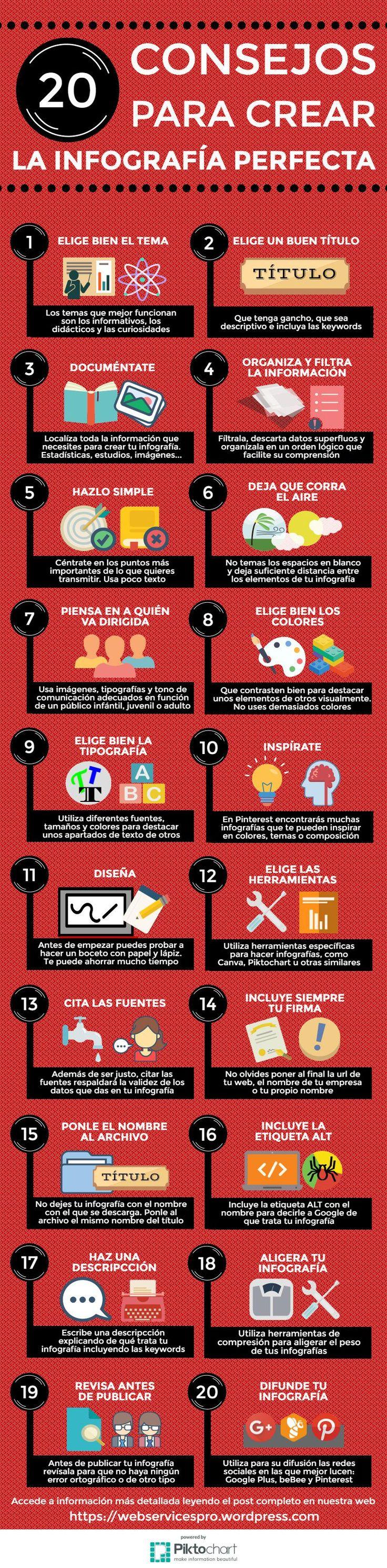 """Los 20 consejos que te ayudarán a crear #Infografias perfectaS y además optimizarlas para #SEO    alt=""""20 consejos para crear la infografia perfecta"""""""
