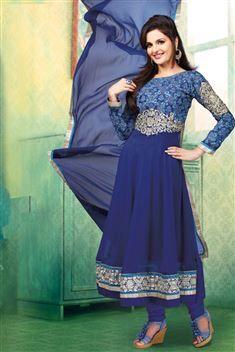 Monika Bedi 60GM Blue Designer Anarkali Party wear