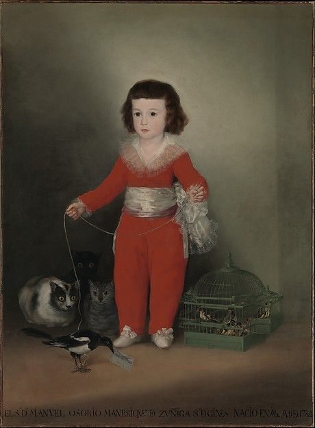 """#MetKids Fun Fact: Sneaky! The artist signed the painting in a very interesting way. In its beak, the magpie is holding a calling card—kind of like a business card today—that reads """"Dn Franco Goya,"""" a shortening of Don (Mr.) Francisco de Goya. 